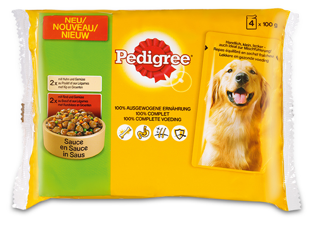 .Pedigree pouch 4-pack kip&rund in saus.