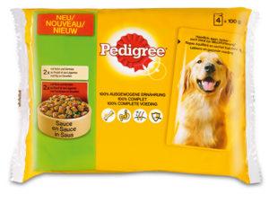 Pedigree pouch 4-pack kip&rund in saus