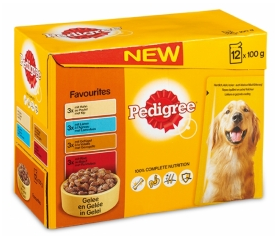 .Pedigree pouch 12-pack adult favourite.